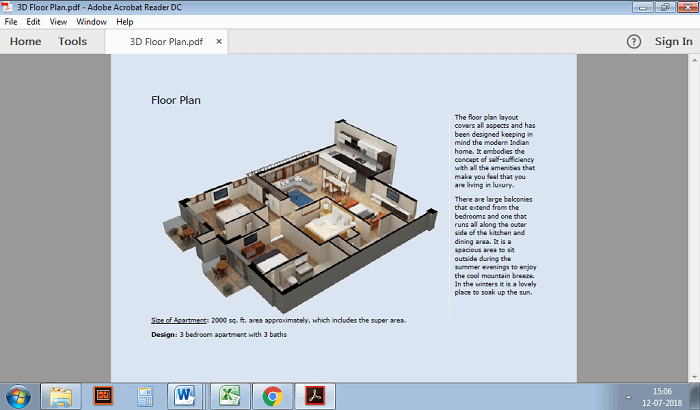 A real estate brochure with 3D rendering