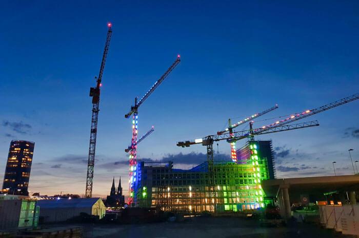 Construction site lit up