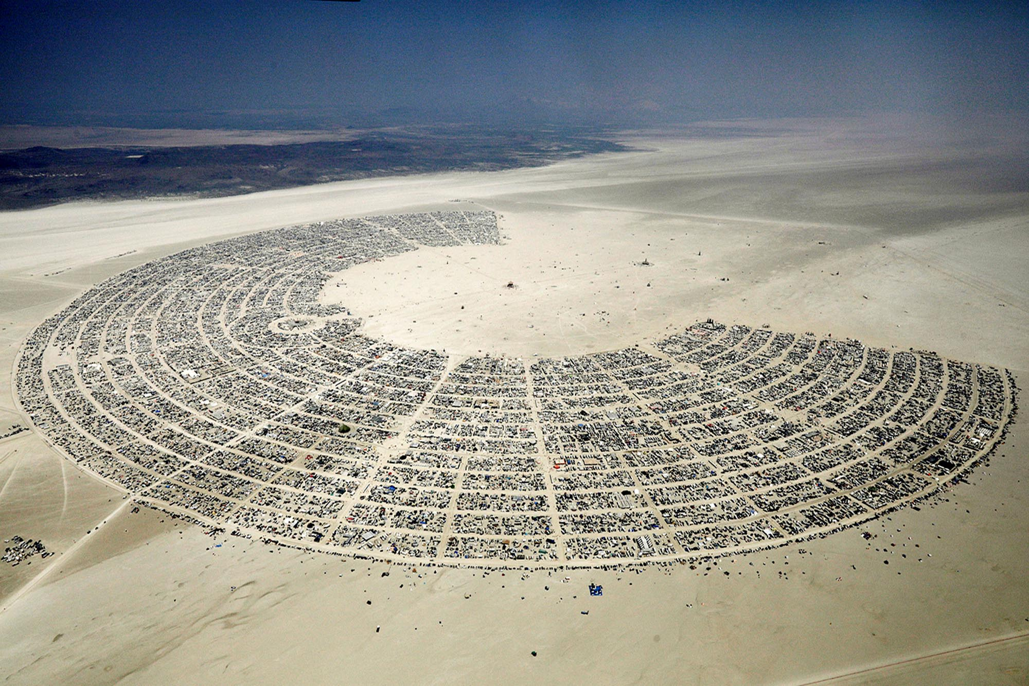Black Rock City, in concentric semi-circles