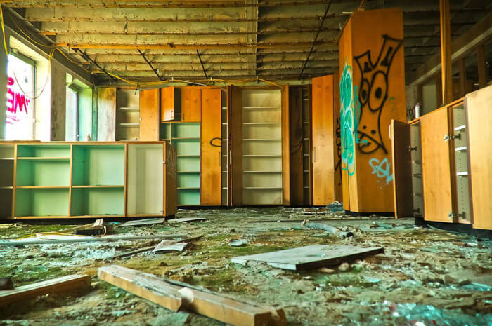 abandoned broken cabinets