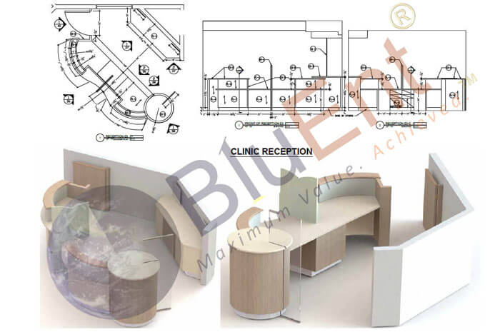 Clinic reception area shop drawings