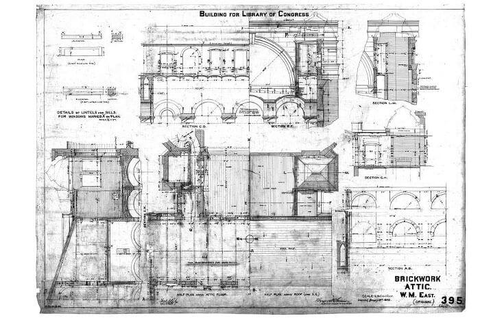 Working drawing showing attic brickwork